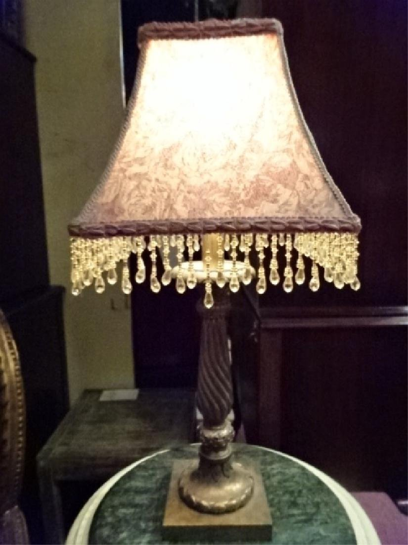 PAIR GOLD FINISH TABLE LAMPS, BEADED FRINGE SHADES, - 2