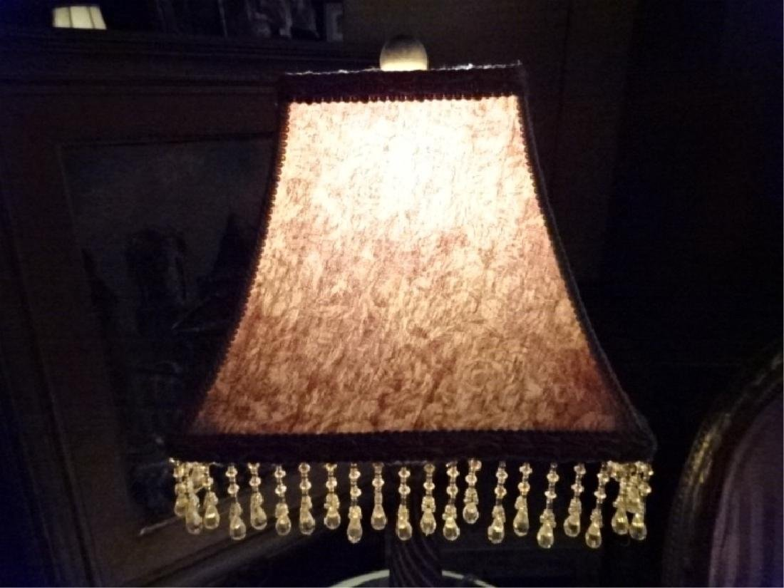 PAIR GOLD FINISH TABLE LAMPS, BEADED FRINGE SHADES, - 4