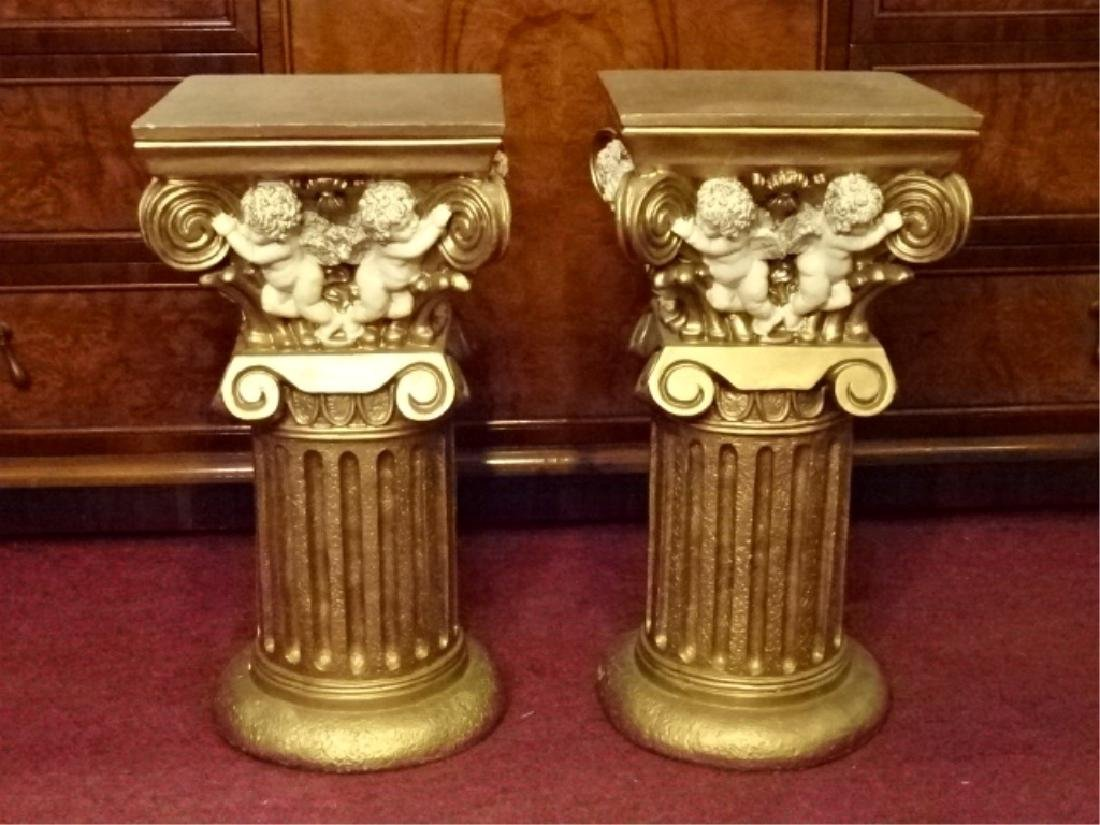 2 IONIC COLUMN STYLE PEDESTALS, GOLD FINISH COMPOSITE,