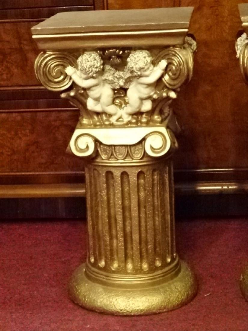 2 IONIC COLUMN STYLE PEDESTALS, GOLD FINISH COMPOSITE, - 2