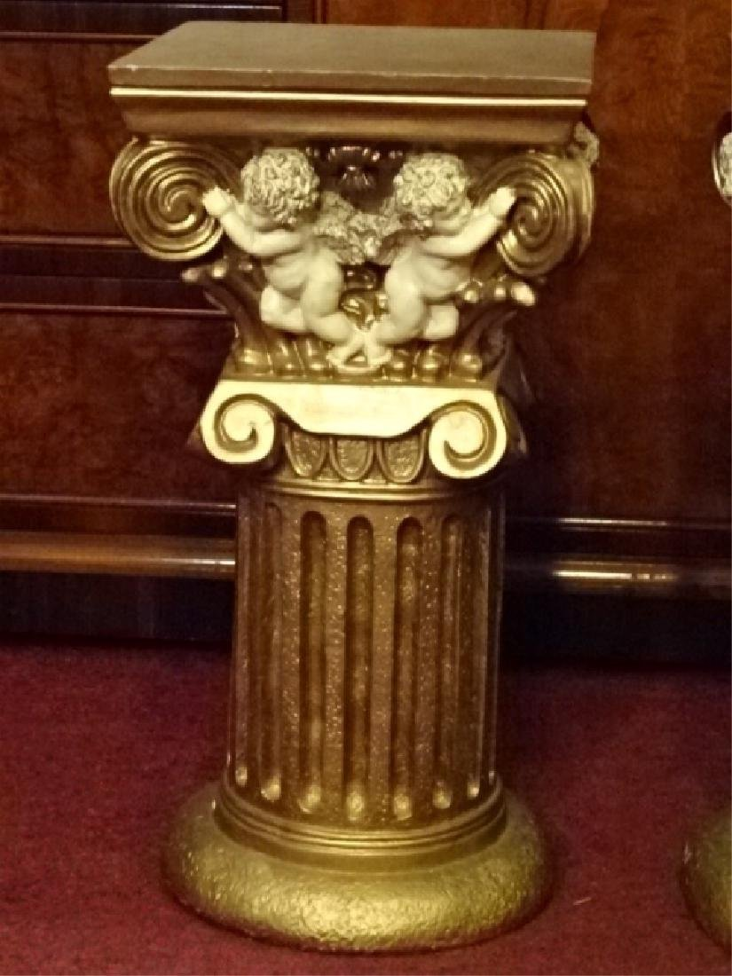 2 IONIC COLUMN STYLE PEDESTALS, GOLD FINISH COMPOSITE, - 4