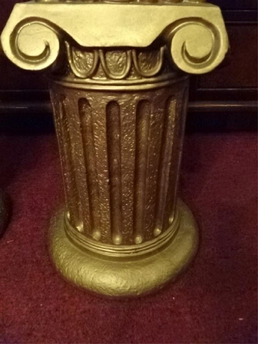 2 IONIC COLUMN STYLE PEDESTALS, GOLD FINISH COMPOSITE, - 6