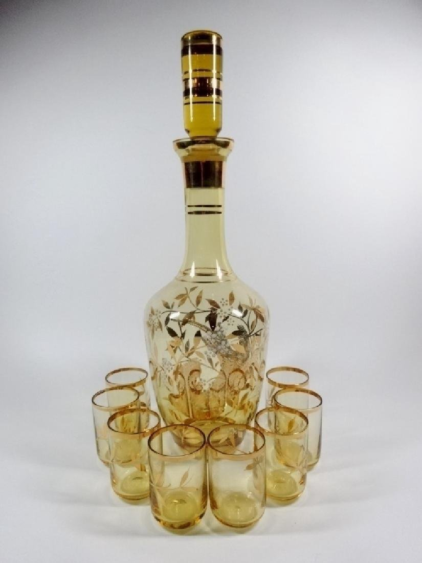 9 PC AMBER GLASS DECANTER WITH 8 CORDIAL GLASSES, BIRD - 2