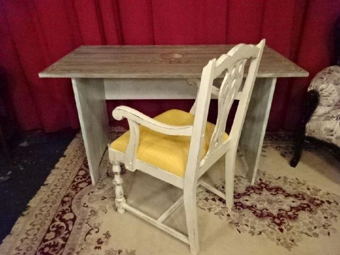 2 PC PAINTED DESK AND CHAIR, NEW NEVER USED, WOOD DESK