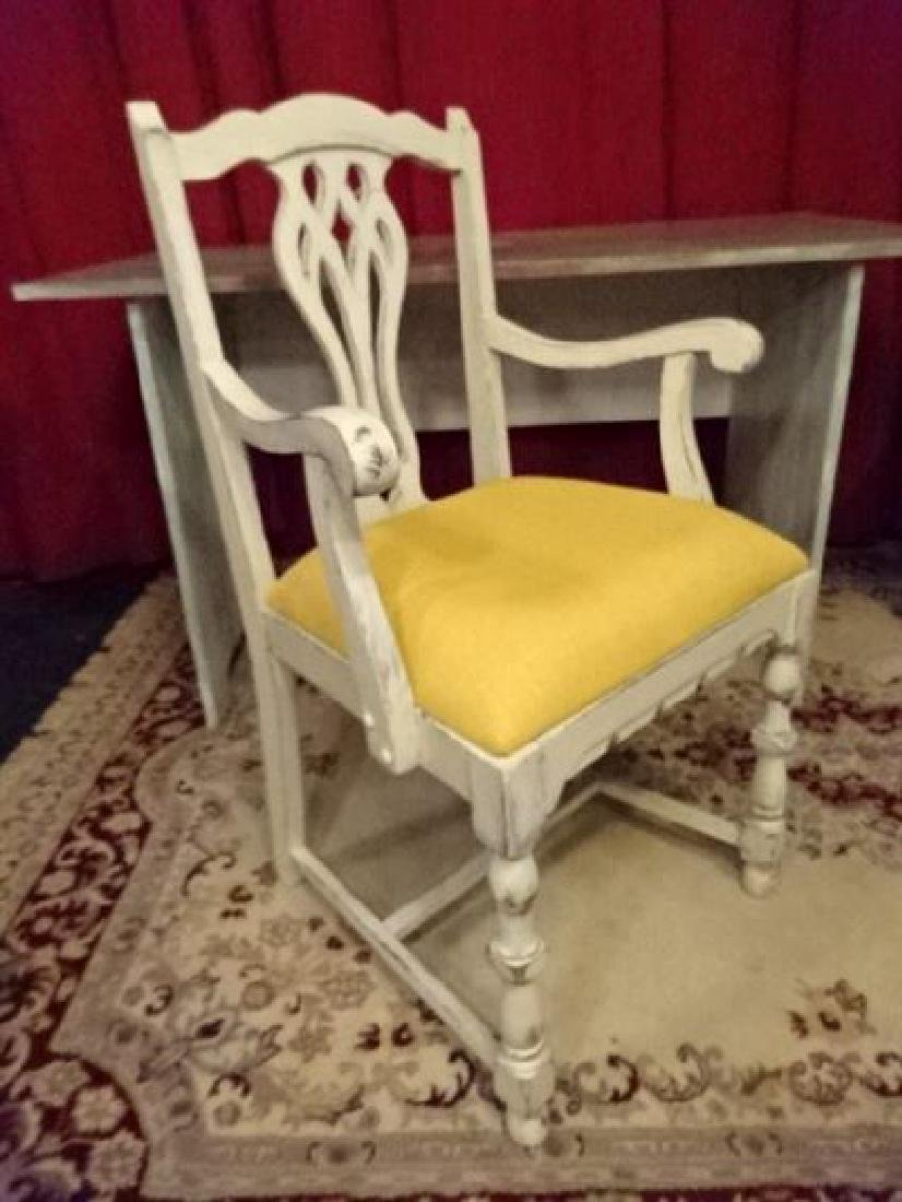 2 PC PAINTED DESK AND CHAIR, NEW NEVER USED, WOOD DESK - 6