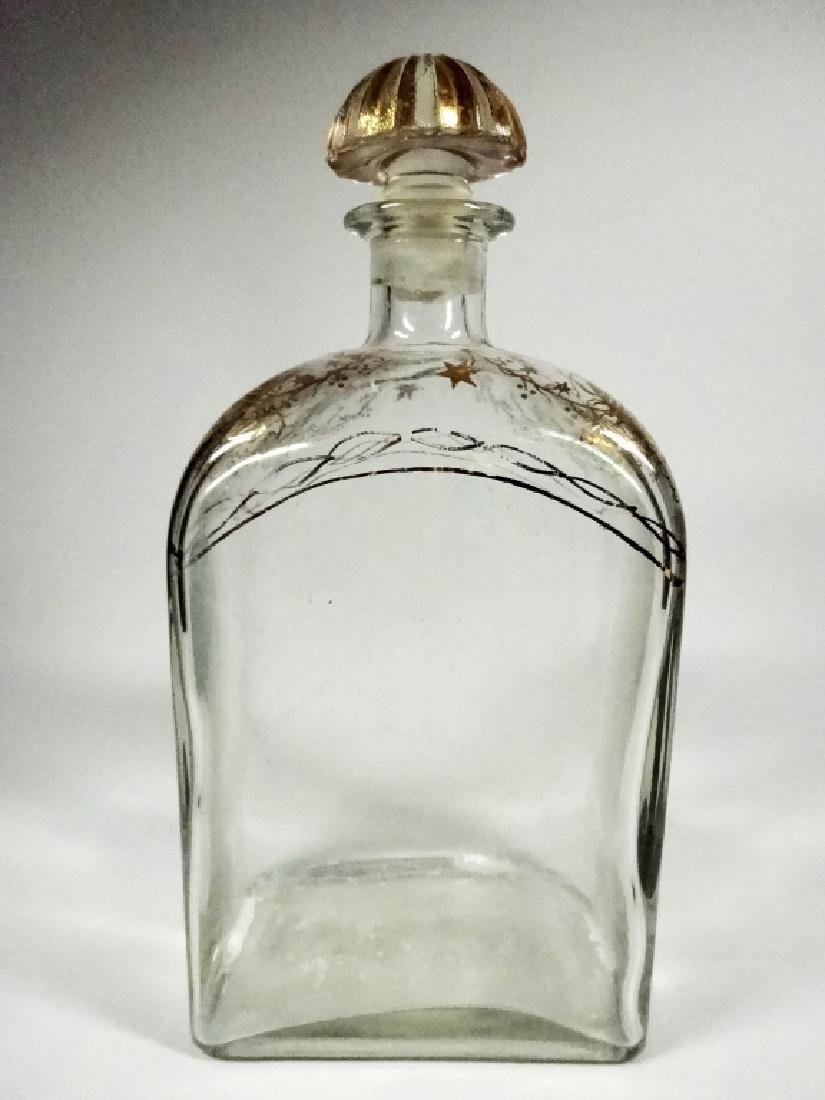 CRYSTAL DECANTER WITH STOPPER, GOLD PAINTED DESIGN,