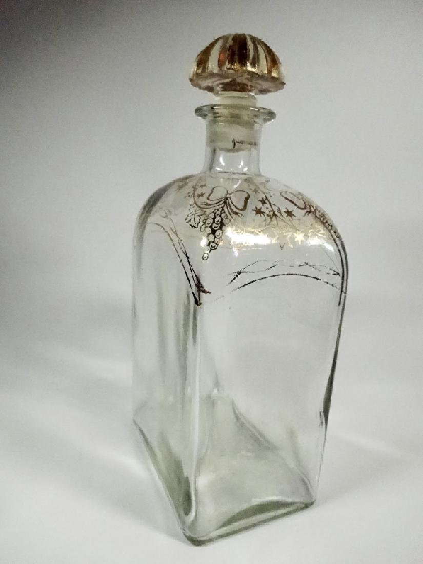 CRYSTAL DECANTER WITH STOPPER, GOLD PAINTED DESIGN, - 2