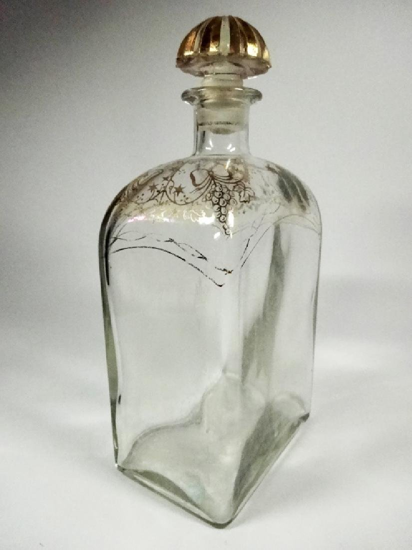 CRYSTAL DECANTER WITH STOPPER, GOLD PAINTED DESIGN, - 3