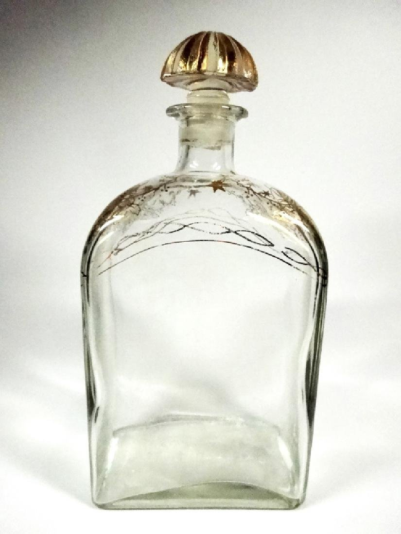 CRYSTAL DECANTER WITH STOPPER, GOLD PAINTED DESIGN, - 4