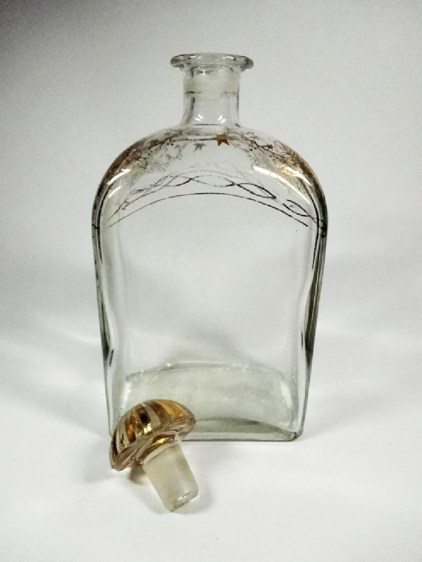 CRYSTAL DECANTER WITH STOPPER, GOLD PAINTED DESIGN, - 5