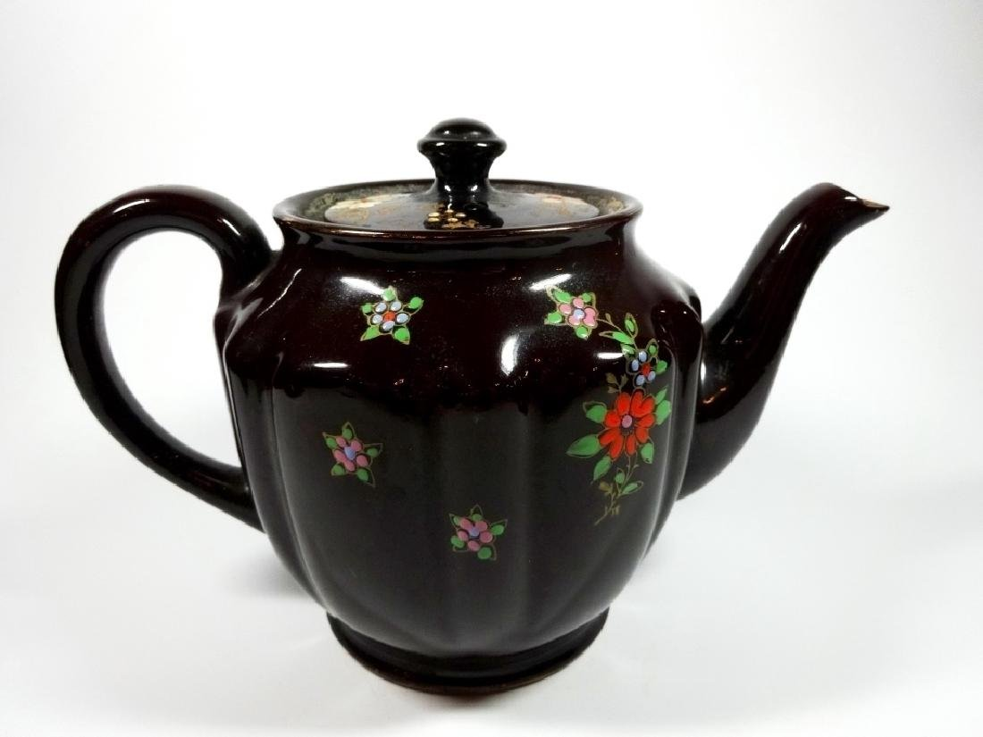 HAND PAINTED POTTERY TEAPOT, DARK BROWN GLAZE, MADE IN