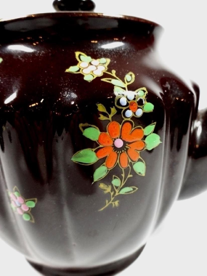 HAND PAINTED POTTERY TEAPOT, DARK BROWN GLAZE, MADE IN - 2