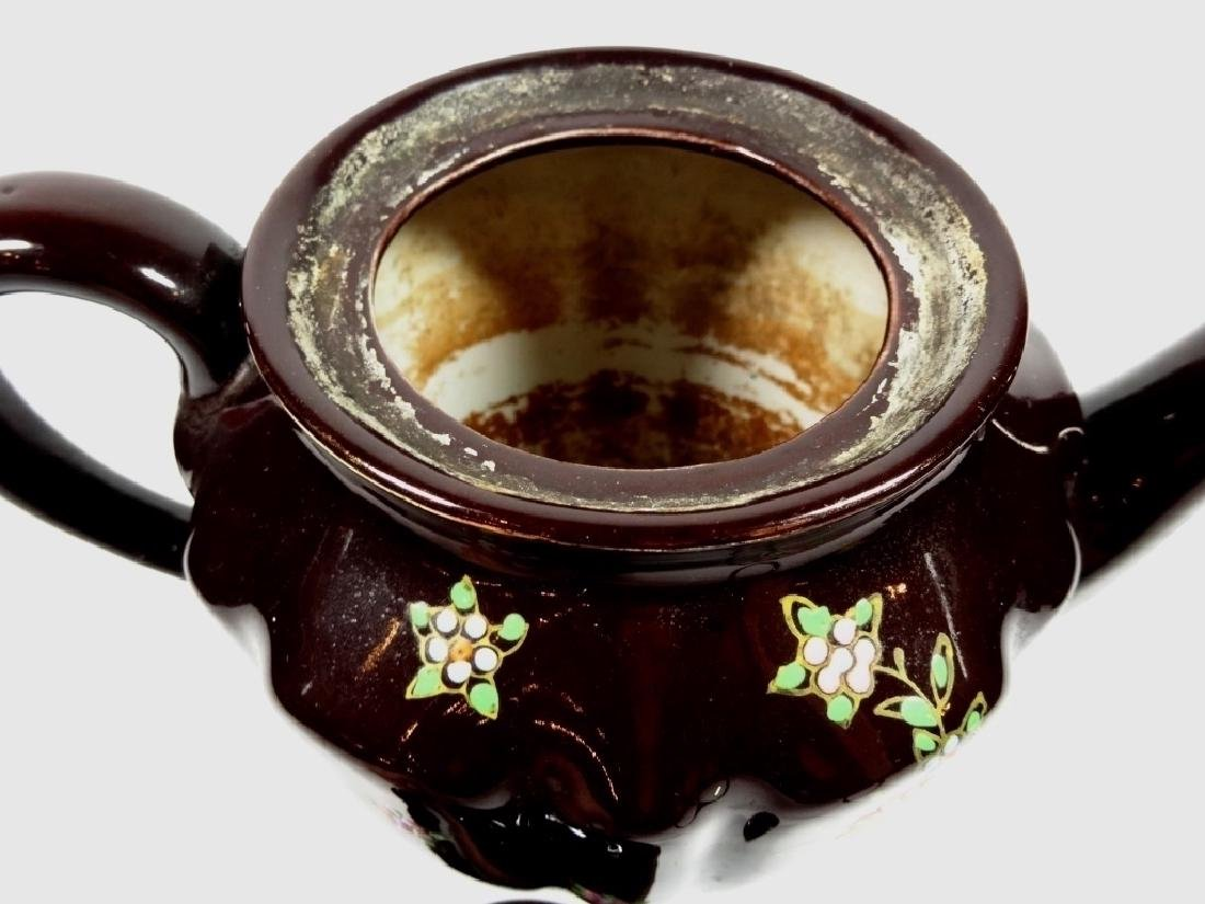 HAND PAINTED POTTERY TEAPOT, DARK BROWN GLAZE, MADE IN - 3