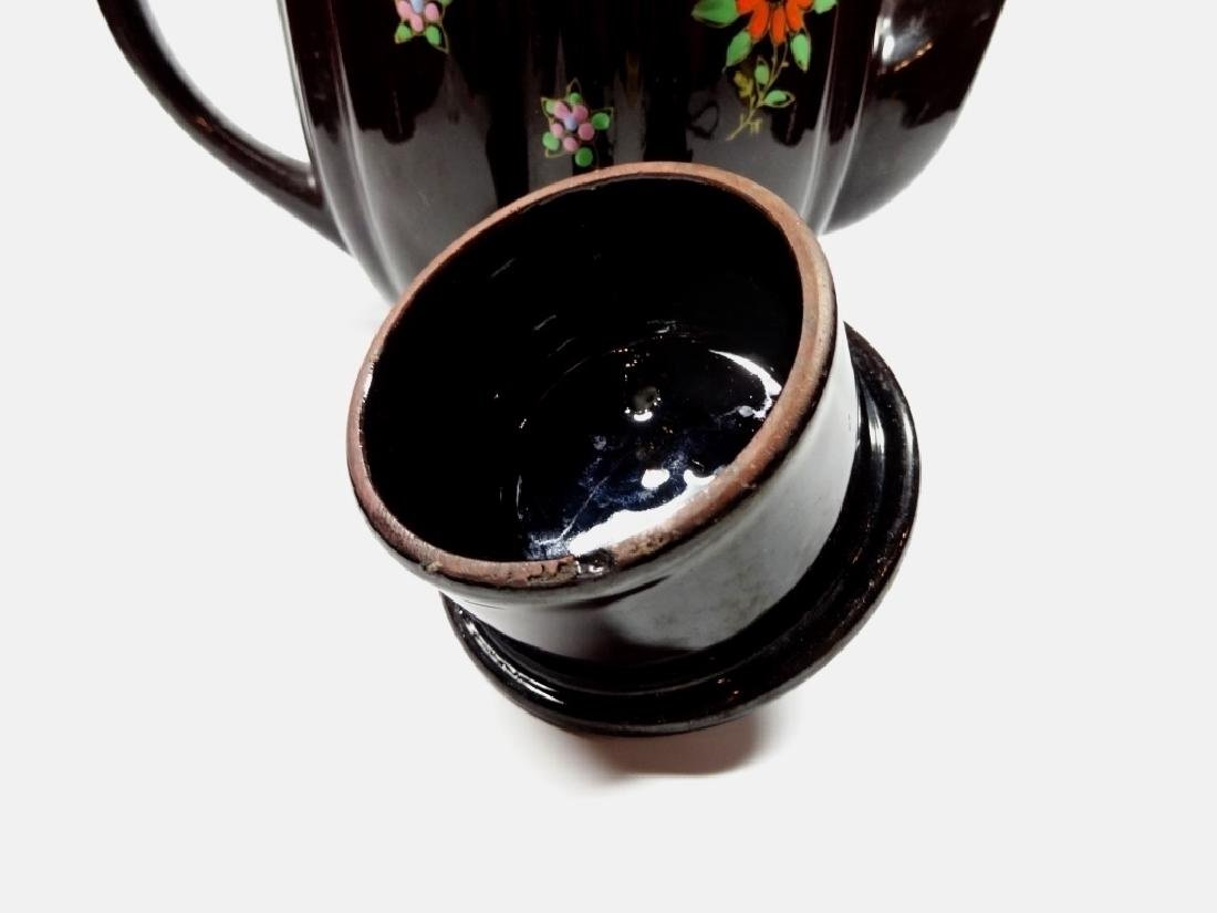 HAND PAINTED POTTERY TEAPOT, DARK BROWN GLAZE, MADE IN - 4
