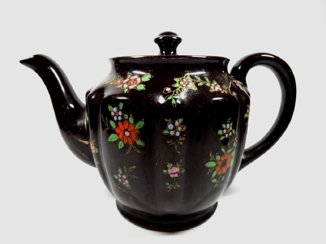 HAND PAINTED POTTERY TEAPOT, DARK BROWN GLAZE, MADE IN - 7