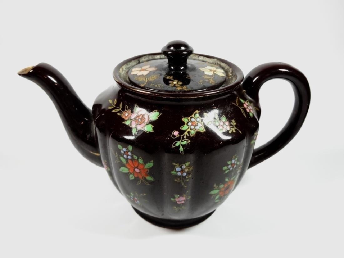 HAND PAINTED POTTERY TEAPOT, DARK BROWN GLAZE, MADE IN - 8