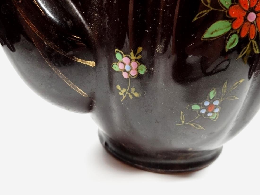 HAND PAINTED POTTERY TEAPOT, DARK BROWN GLAZE, MADE IN - 9
