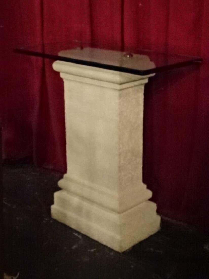 CAST STONE AND GLASS PEDESTAL, VERY GOOD CONDITION, - 2