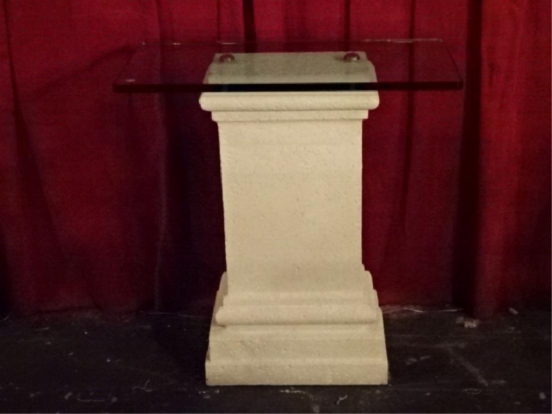 CAST STONE AND GLASS PEDESTAL, VERY GOOD CONDITION, - 3