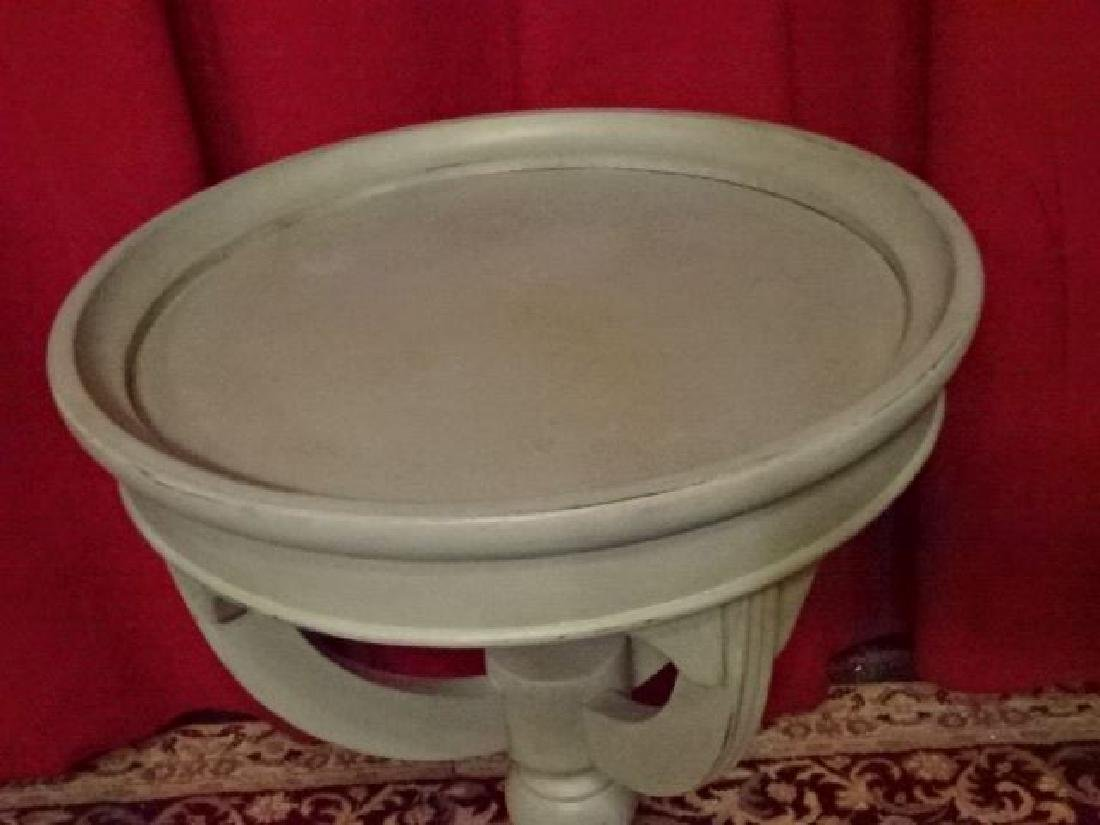 ROUND PEDESTAL TABLE, 3 LEGS, PALE BLUE PAINTED FINISH, - 3