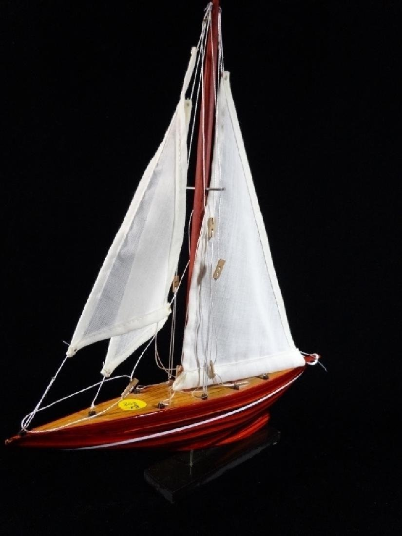 "CARVED WOOD SAIL BOAT MODEL, 14""H X 13""W, SKU308.13 - 3"