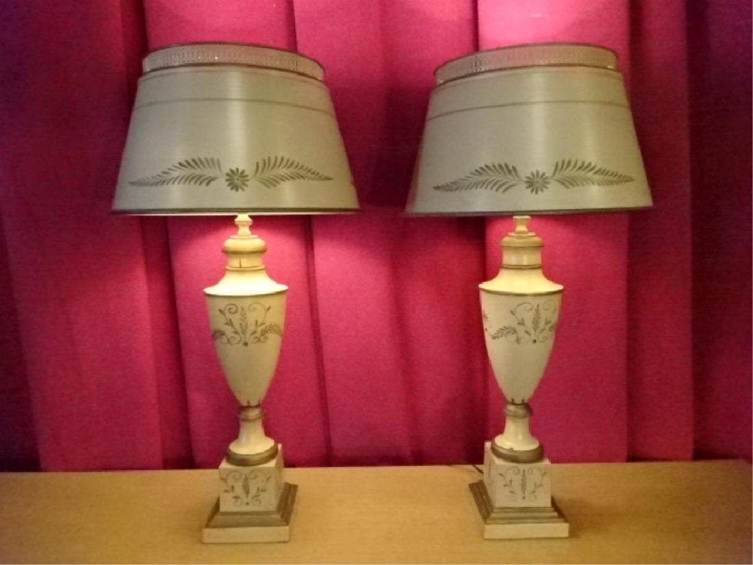 PAIR MID CENTURY TOLE PAINTED LAMPS, OFF WHITE WITH