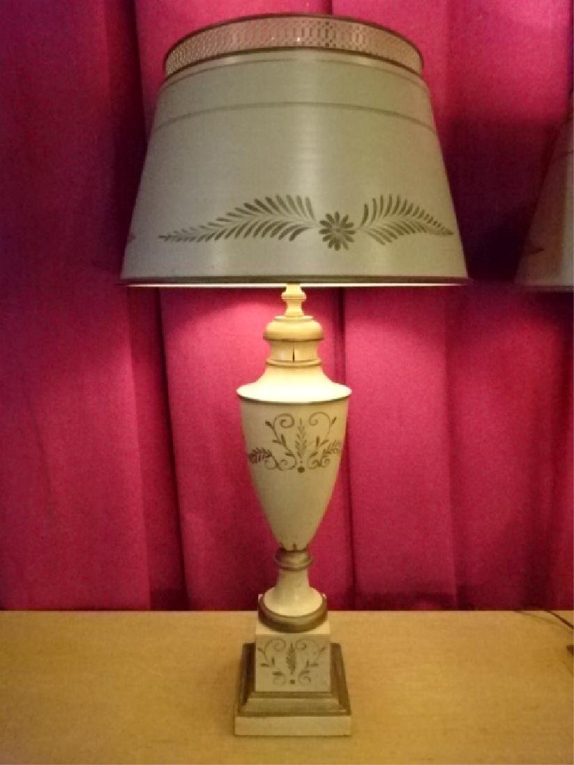 PAIR MID CENTURY TOLE PAINTED LAMPS, OFF WHITE WITH - 2