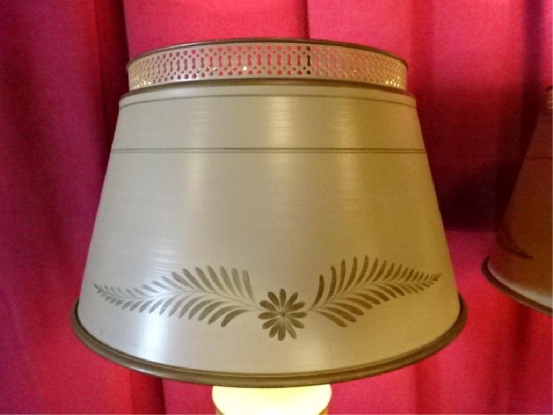 PAIR MID CENTURY TOLE PAINTED LAMPS, OFF WHITE WITH - 4