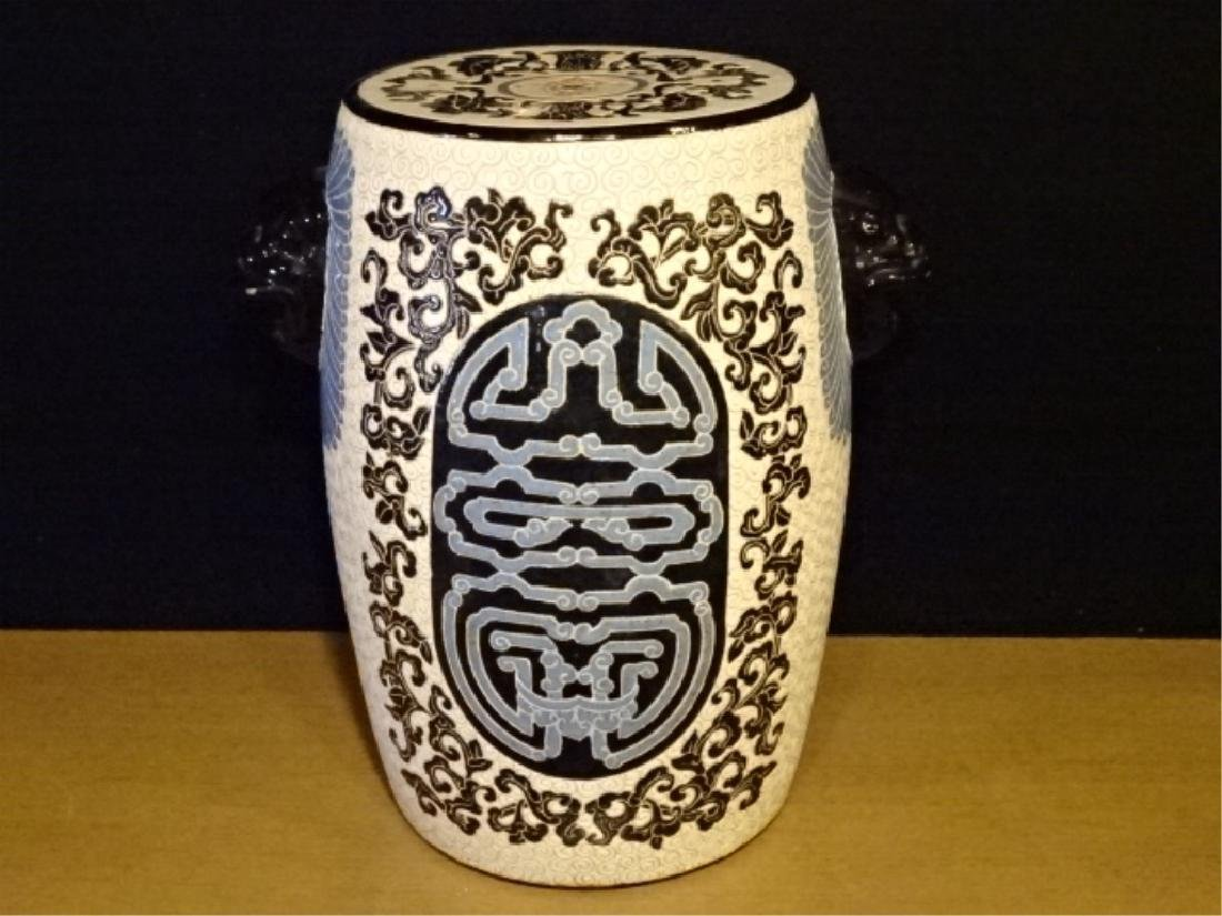 CHINESE PORCELAIN GARDEN STOOL WITH LION HEAD HANDLES,