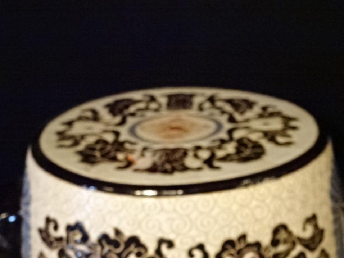 CHINESE PORCELAIN GARDEN STOOL WITH LION HEAD HANDLES, - 3