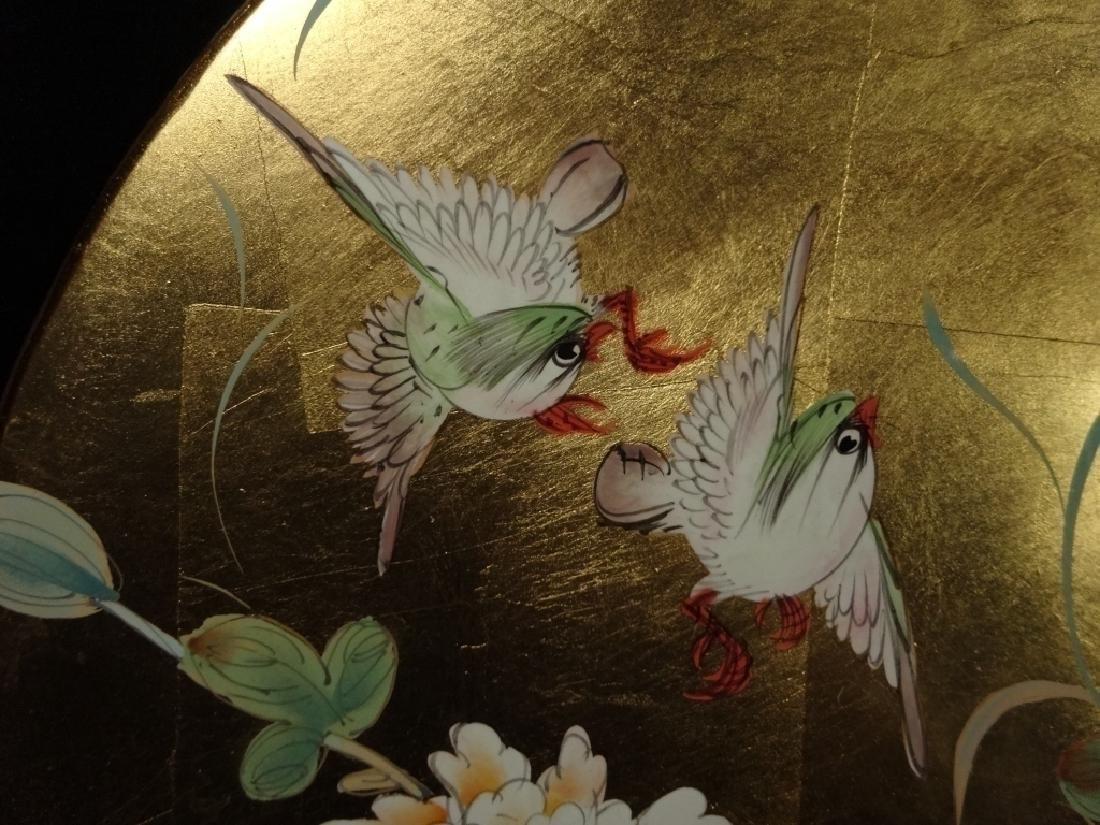 LARGE CHINESE PLATTER, GLAZED GOLD GILT FINISH, BIRD & - 2