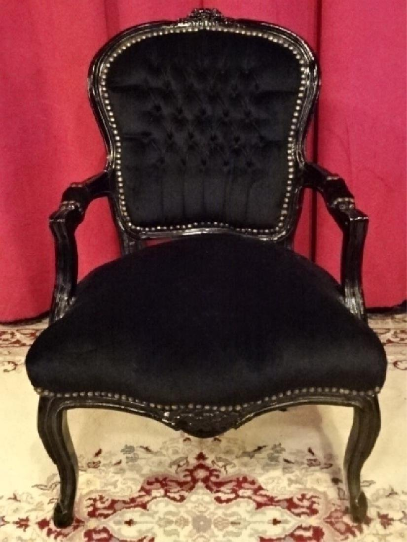 LOUIS XV STYLE FAUTEUIL ARM CHAIR, BLACK FINISH CARVED