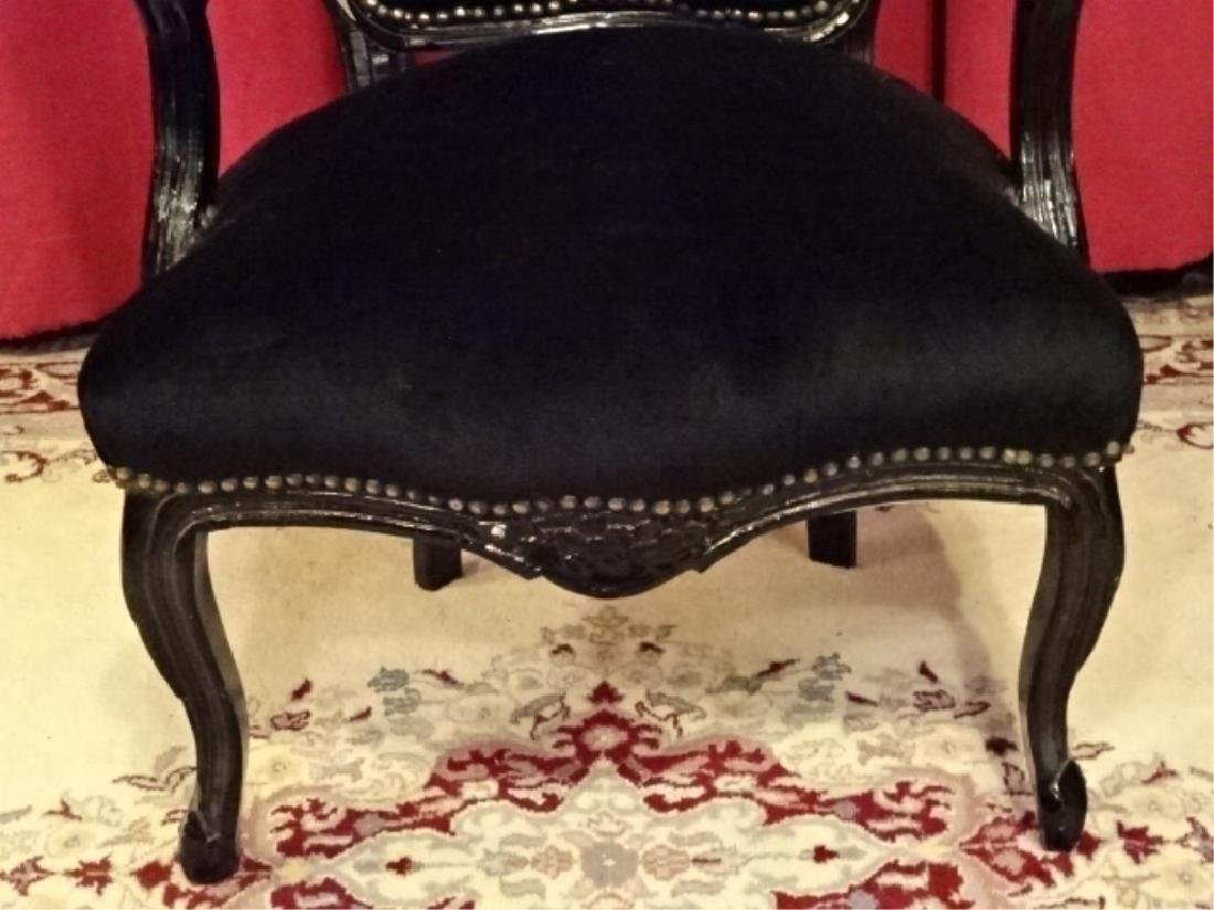 LOUIS XV STYLE FAUTEUIL ARM CHAIR, BLACK FINISH CARVED - 5