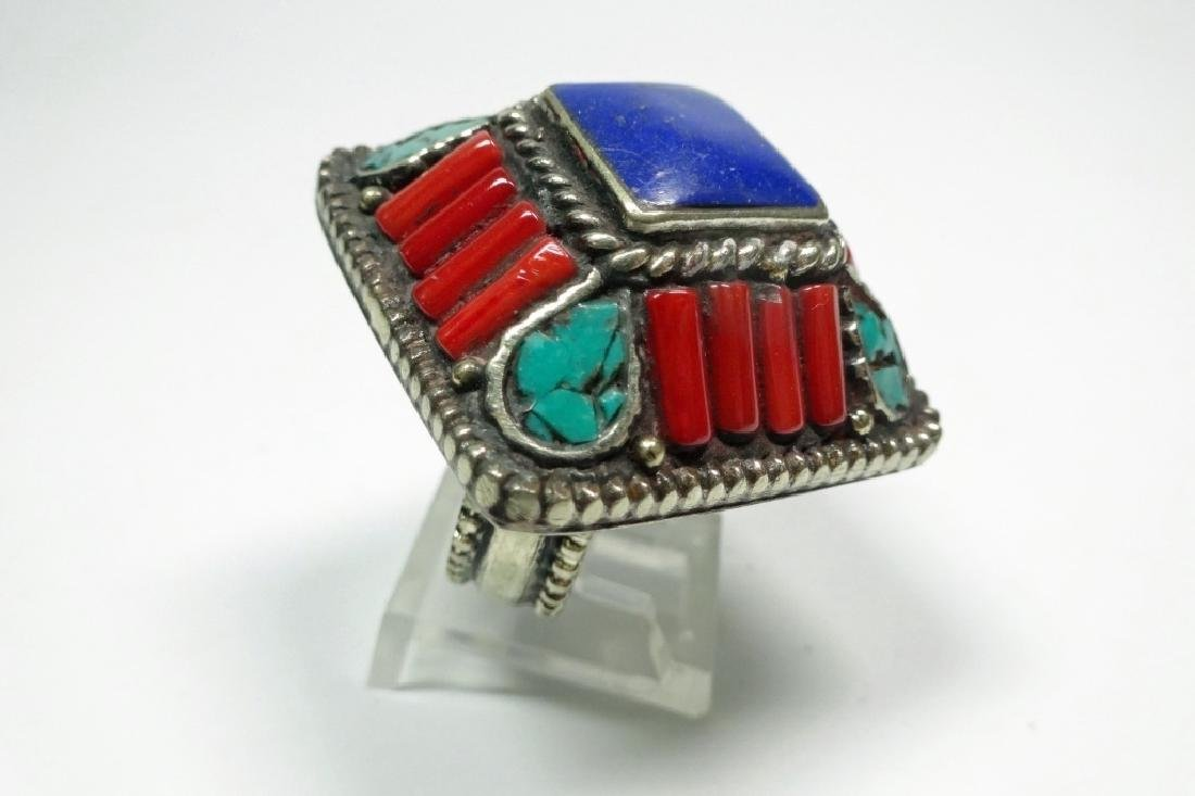 TIBETAN TURQUOISE, LAPIS & CORAL RING, SIZE 8, APPROX 1