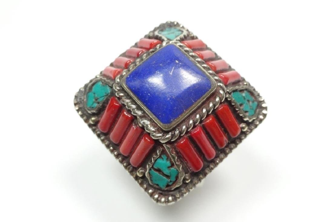 TIBETAN TURQUOISE, LAPIS & CORAL RING, SIZE 8, APPROX 1 - 2