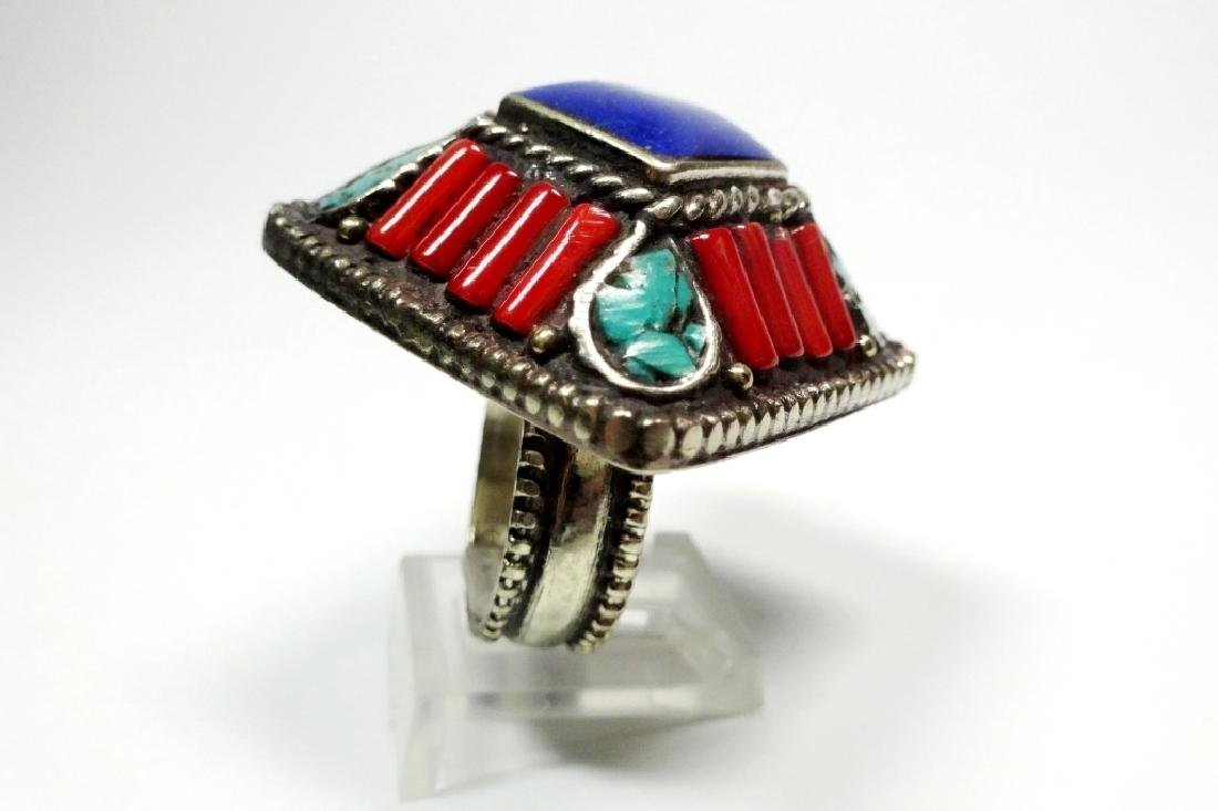 TIBETAN TURQUOISE, LAPIS & CORAL RING, SIZE 8, APPROX 1 - 3