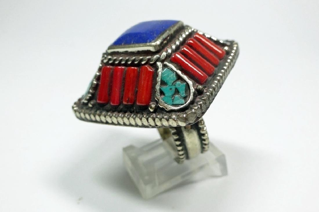 TIBETAN TURQUOISE, LAPIS & CORAL RING, SIZE 8, APPROX 1 - 4