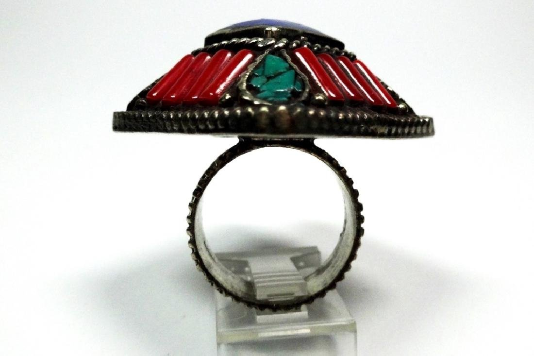 TIBETAN TURQUOISE, LAPIS & CORAL RING, SIZE 8, APPROX 1 - 5