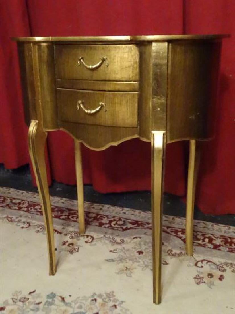 LOUIS XV STYLE GOLD GILT TABLE, KIDNEY SHAPE, 2 DRAWERS - 3