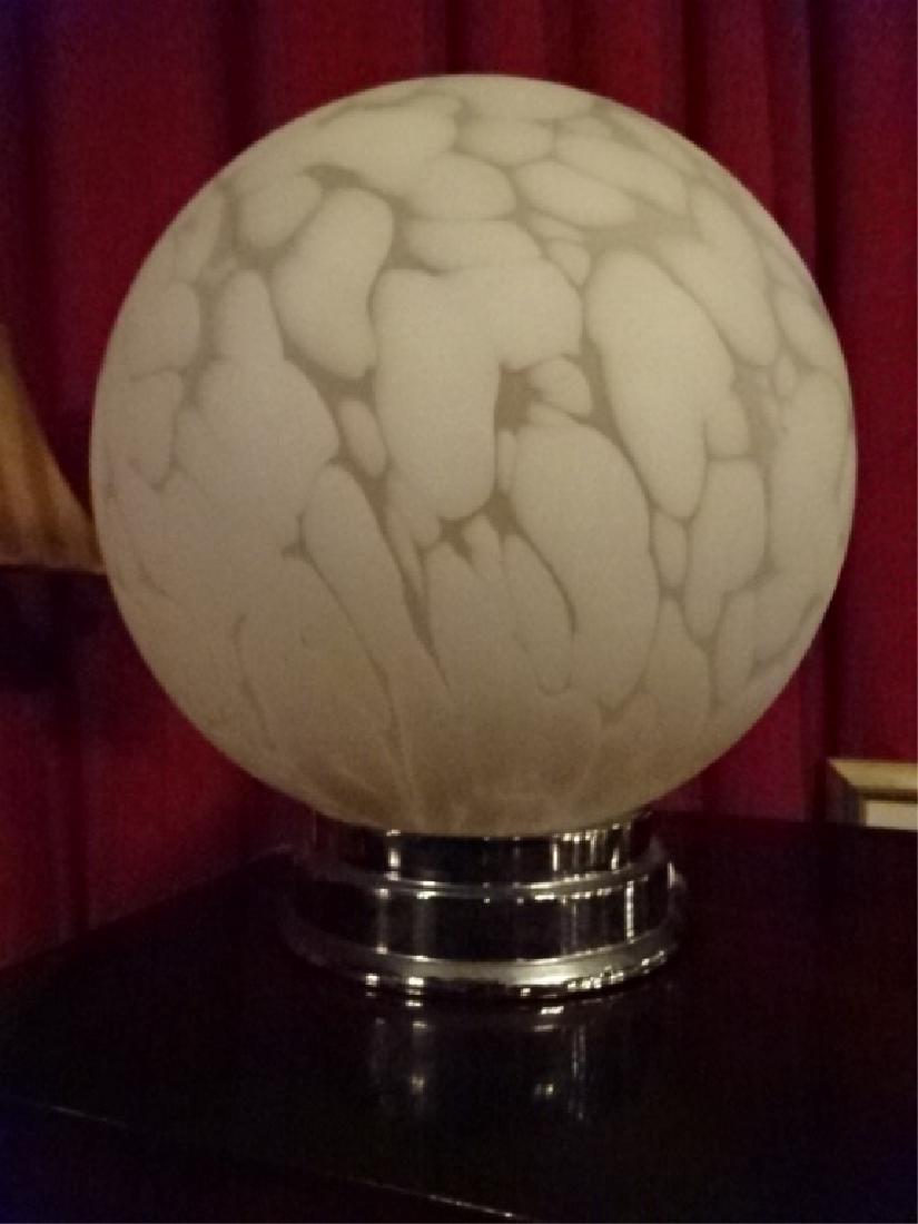 WHITE ART GLASS BALL LAMP, ON CHROME BASE, VERY GOOD