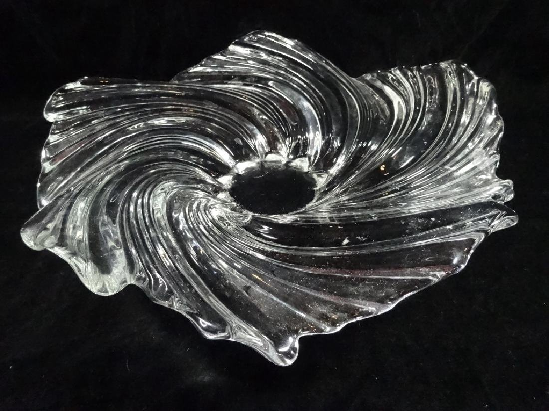 LARGE CRYSTAL BOWL, SWIRL DESIGN, APPROX 15""