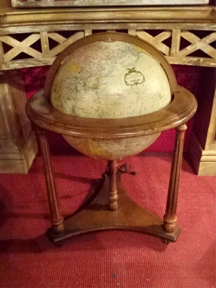 LIGHTED GLOBE OF THE WORLD IN WOOD STAND, VERY GOOD