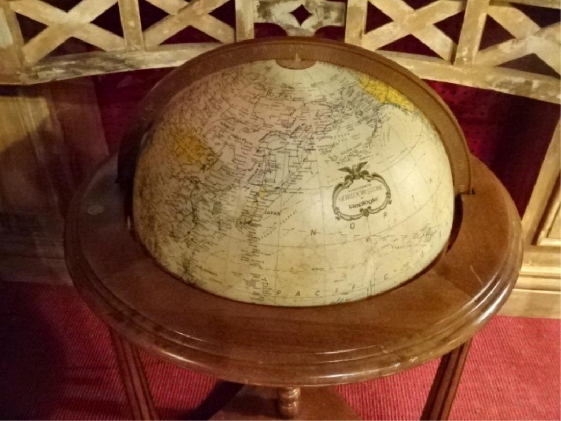 LIGHTED GLOBE OF THE WORLD IN WOOD STAND, VERY GOOD - 2