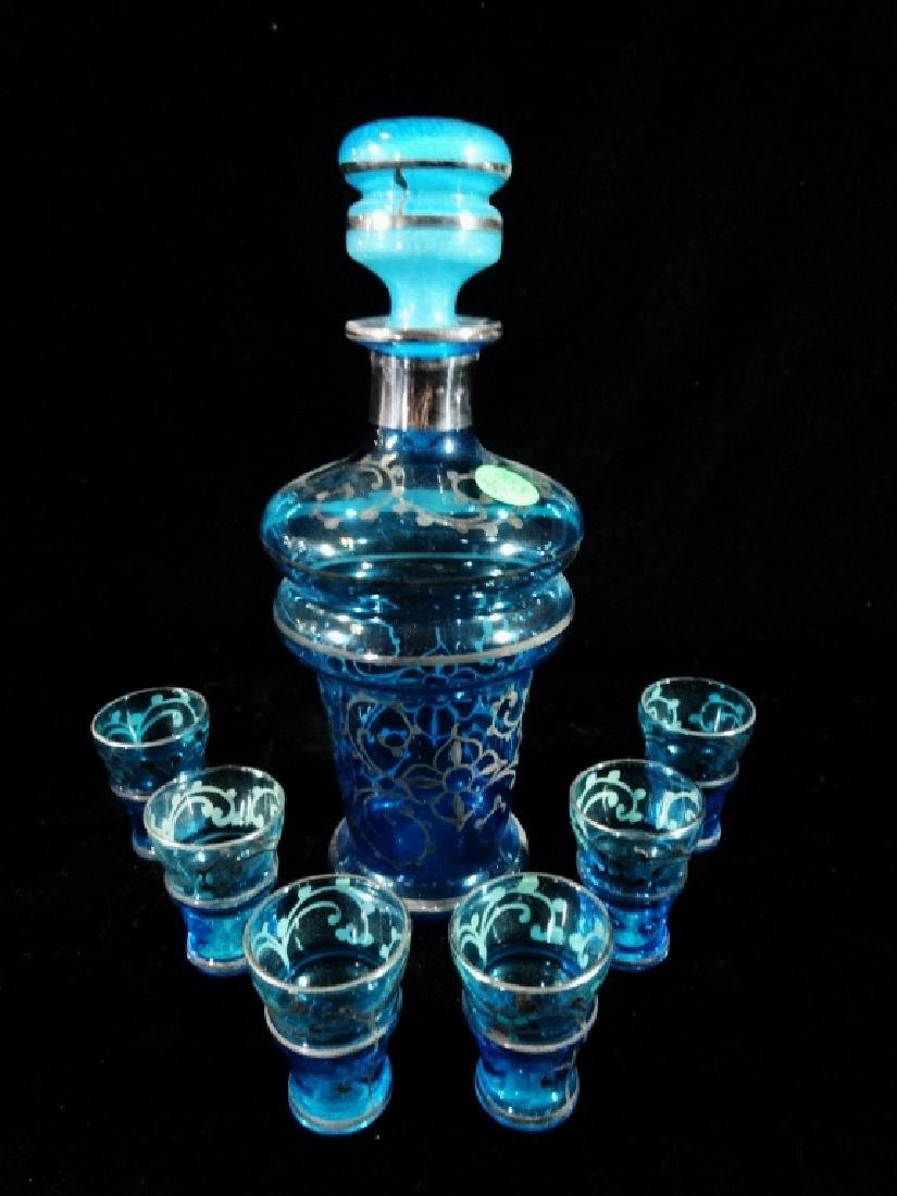 7 PC BLUE GLASS DECANTER & 6 GLASSES, DECANTER APPROX