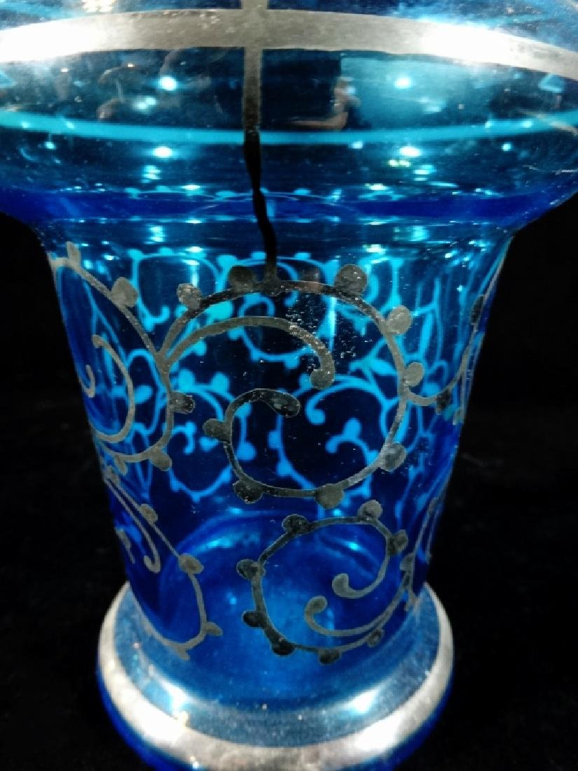 7 PC BLUE GLASS DECANTER & 6 GLASSES, DECANTER APPROX - 3