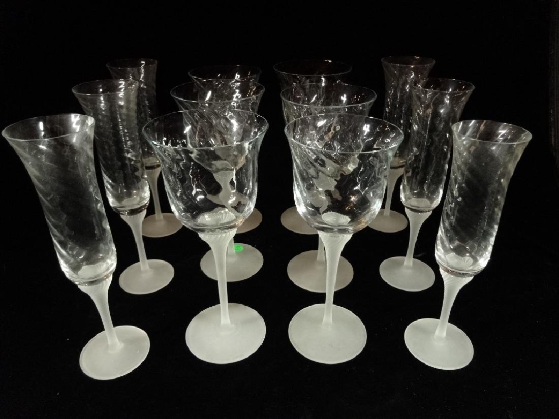 12 HAND BLOWN CRYSTAL WINE GLASSES, 6 CHAMPAGNES AND 6 - 2