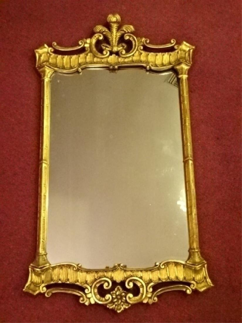 CHIPPENDALE GILT WOOD MIRROR, PLUME CREST, VERY GOOD