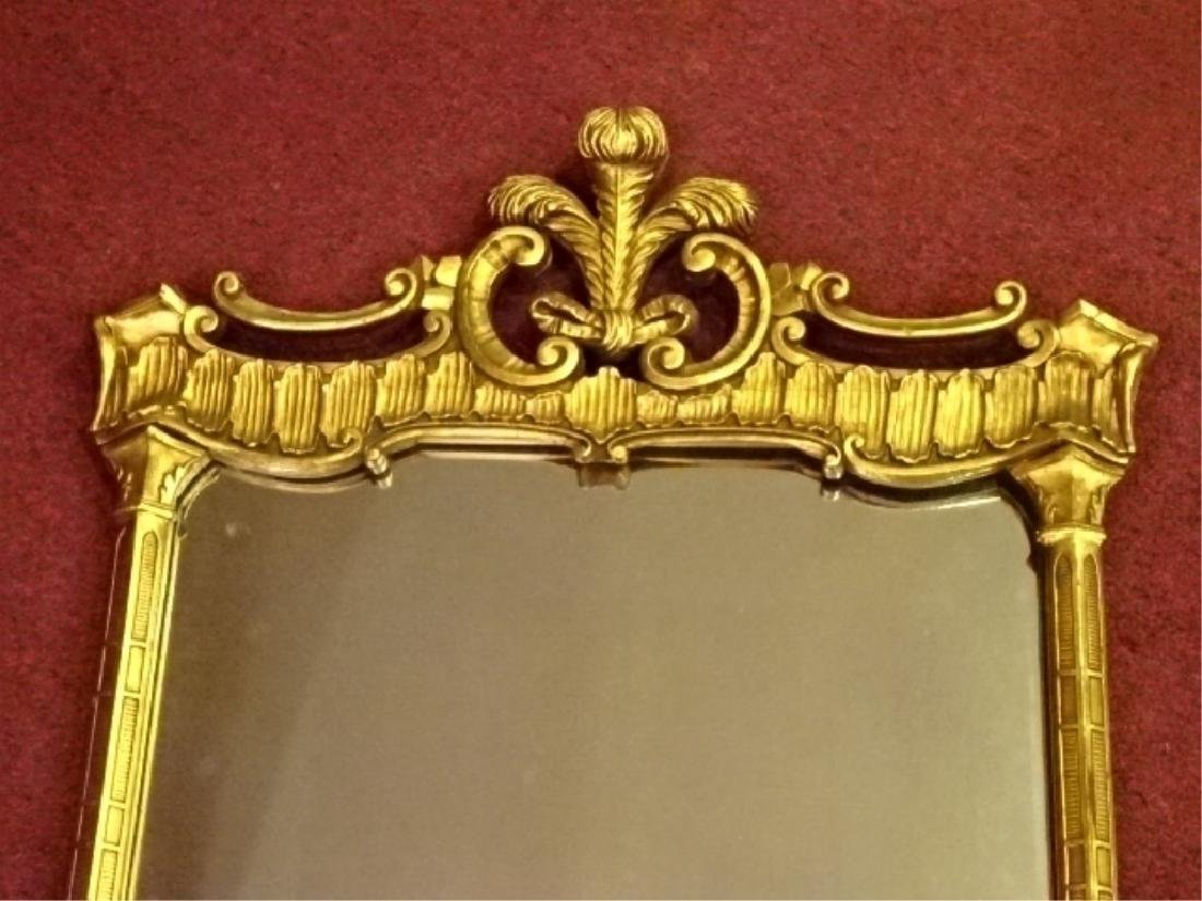 CHIPPENDALE GILT WOOD MIRROR, PLUME CREST, VERY GOOD - 2