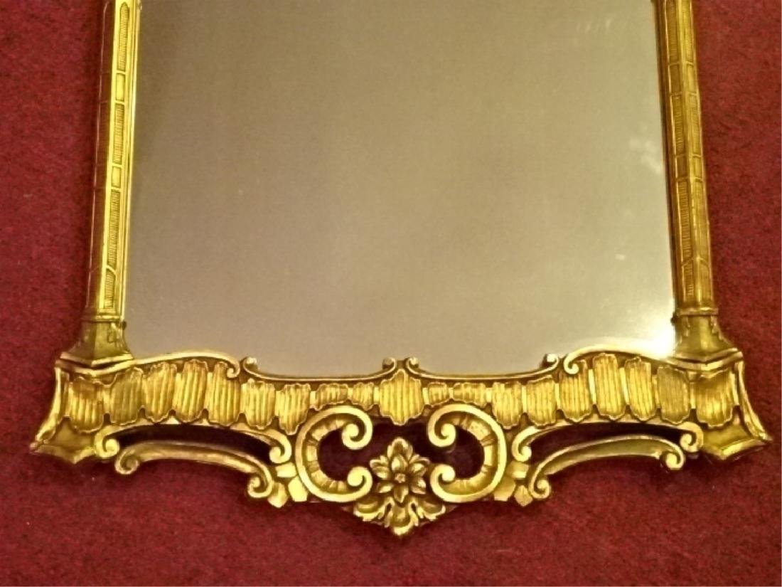 CHIPPENDALE GILT WOOD MIRROR, PLUME CREST, VERY GOOD - 3