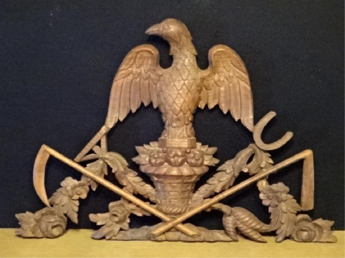19TH C. WOOD EAGLE WALL PLAQUE, VERY GOOD CONDITION